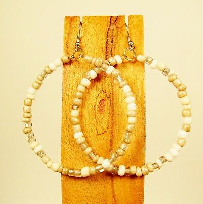 "2"" Large Hoop Bohemian Style White Natural Handmade Seed Bead Hook Earrings"