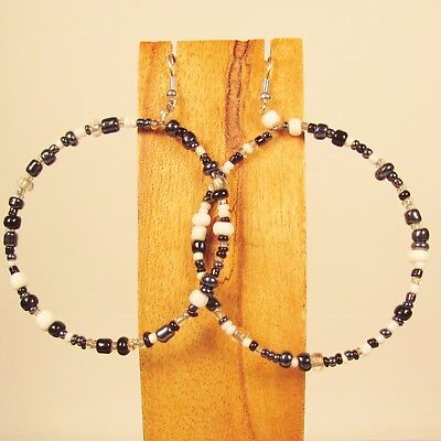 "2"" Large Hoop Bohemian Style Black White Color Handmade Seed Bead Hook Earrings"