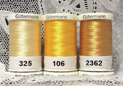 3 NEW Yellow GUTERMANN 100% polyester embroidery thread 547 yards Spools