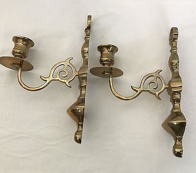 Candlestick Holders Brass Solid Mid Century Modern Wall Art