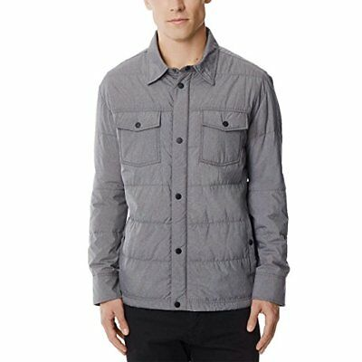 32Degrees Weatherproof Men's Packable Down Shirt Jacket Warm Gray Melange Large