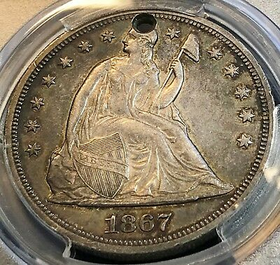 1867 Seated $1 PCGS AU Details Gorgeous Coin--Holed (!) Scratchless Holder CHN