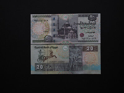 Egypt Banknotes Brilliant 20 Pounds notes with Classic ancient Images   MINT UNC