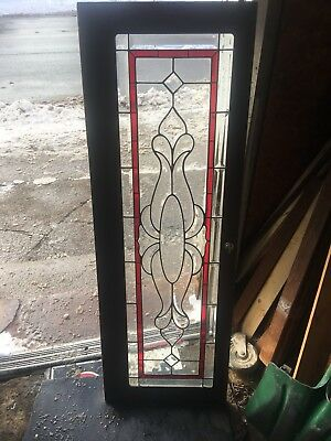 Rare Antique Architectural Heavy Beveled Stained Glass Window For Your Home
