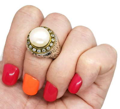 Gold and Silver Pearl Ring, size 7 1/4 US, Art Nouveau, Brand NEW