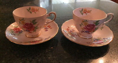Tuscan Fine English Bone China - Set of TWO Pink Cup And Saucer Pair