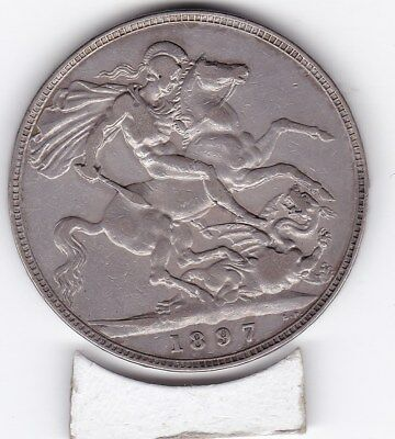 1897   Queen Victoria Large Crown / Five Shilling Coin  from Great Britain