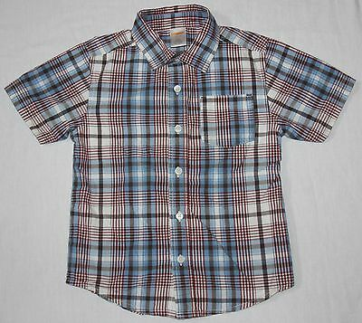 Gymboree Boy's Red, White, & Blue Plaid Short Sleeve Button Front Shirt XS (3-4)