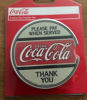 "Coca Cola Coke 2 Piece Car Coaster Set NEW ""Please Pay When Served Thank You"""