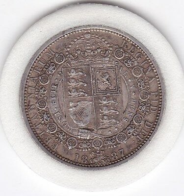 Very  Sharp  1887   Queen  Victoria  Half  Crown (2/6d) - Sterling  Silver Coin