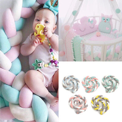 2M Infant Baby Plush Bumper Bed Bedding Crib Cot Braid Pillow Cushion Protector
