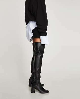24233cfafe8 New Sold Out Black Zara Over the Knee High Chunky Block Heels Boots Size  6.5 7.5