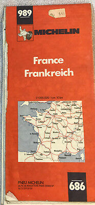 Vintage 1976 Michelin Map of France #989 Europe French