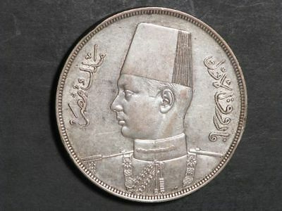 EGYPT 1939 20 Piastres Silver Crown XF-AU