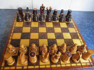 Vintage all Timber Unique Carved CHESS SET in Folding wood Case / Playing Board