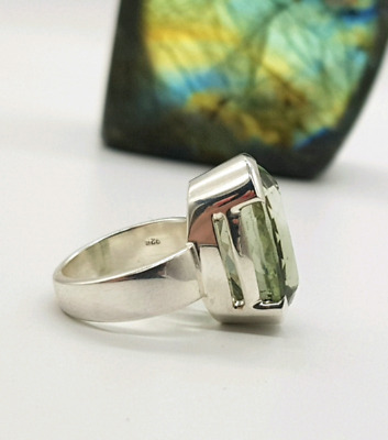 Green Amethyst Ring, Size 6 3/4 US, Sterling Silver, Money Stone, Item #0200