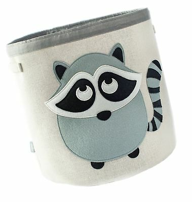 Grey Bee Animal Theme Collapsible Canvas Storage Bin for Kids, Grey - Raccoon