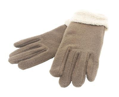 Ladies Womens Fleece Gloves with Barber Cuff  Assorted Colors