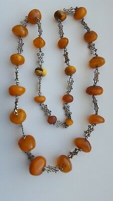 65g Baltic AMBER Antique NECKLACE Egg Yolk Butterscotch Yellow