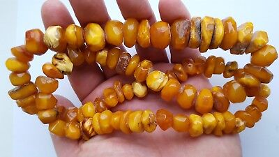 89,52g Baltic AMBER Antique NECKLACE Egg Yolk Butterscotch Yellow