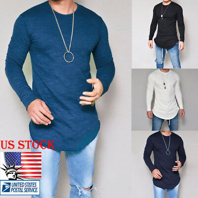 Men Slim Fit Cotton Long Sleeve Basic Tee Solid Blouse Casual Muscle T-Shirt Top