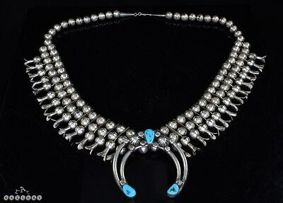 Vintage Navajo Silver & Turquoise 3 Strand Squash Blossom Necklace