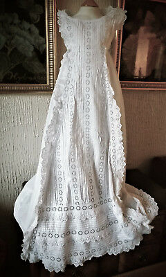 Antique Baby Christening Gown/b Anglais Frilling