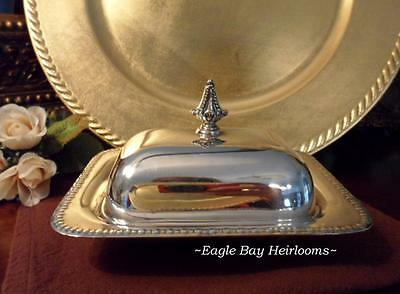 """Sheffield Silverplate EPC 340 Covered Butter Dish*No Glass Liner* Beaded Edge 6"""""""