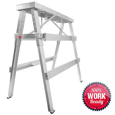 "Drywall Bench Sawhorse Step Ladder - Adjustable Height Workbench 18""-44"""