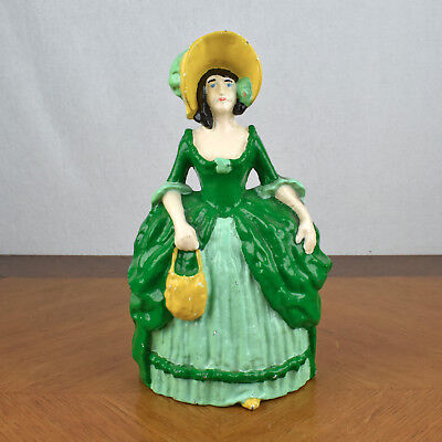 VTG Antique Cast Iron Doorstop Victorian Lady in Green Dress and Bonnet - Japan
