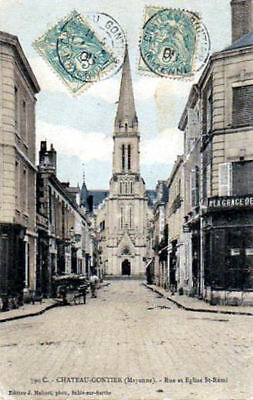 53 Cpa Animee 1905 - Chateau -Gontier- Rue Et Eglise St Remi
