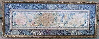 """Antique Asian Framed Kimono Remnant/sleeve Art Picture - 23 3/4"""" X 9 1/8"""""""