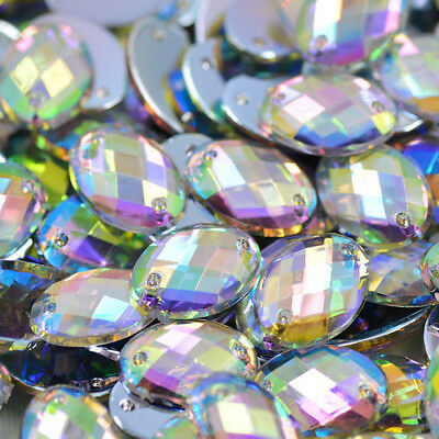 Crystals Flatback Rhinestones Sew On Acrylic Stones OVAL For Clothes -CRYSTAL AB