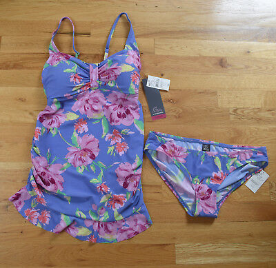 NWT - Oh Baby by Motherhood 2-piece bathing suit blue/purple floral (S) MSRP $60