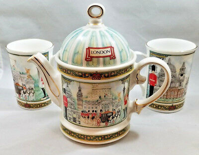 Sadler Bone China Teapot & Two (2) Cups Horseguards London Heritage Collection