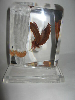 Reverse Etched Lucite Eagle Outstretched Wings & Talons Nest Eggs Tall Wald 1989