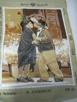 Royal Paris Needlepoint Saint Valentine by Kim Anderson semi Completed Tapestry