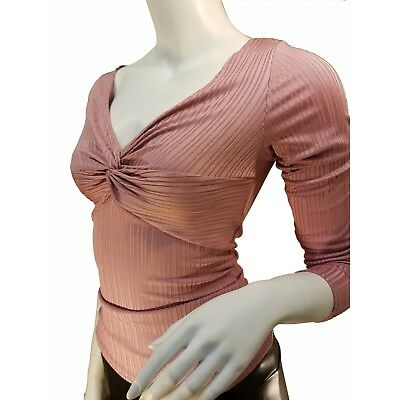 c51a9648 Long Sleeve Deep V-neck Twist Front Top Formfitting Top Blouse Women Clothes