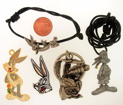 5Pc Bugs Bunny Keychain Necklace Charm Warner Bros Looney Tunes Wb Store Lot L12