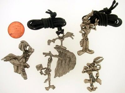 4Pc Wile E Coyote Road Runner Necklace Charm Warner Bros Looney Tunes Wb Lot L25