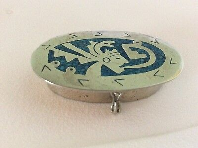 Vintage Mexican Alpaca Silver & Turquose Chips  Pill Or Trinket Aztec Design Box