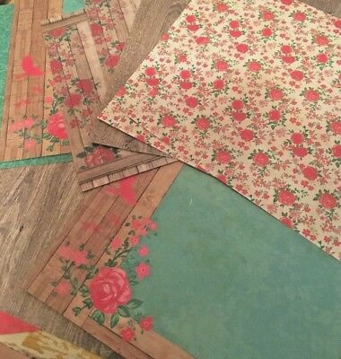 12 x rustic floral rose paper small square acid free scrapbooking cardmaking