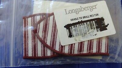 Longaberger Sweetheart Series Red Ticking Small Handle Tie #2358090 - NEW