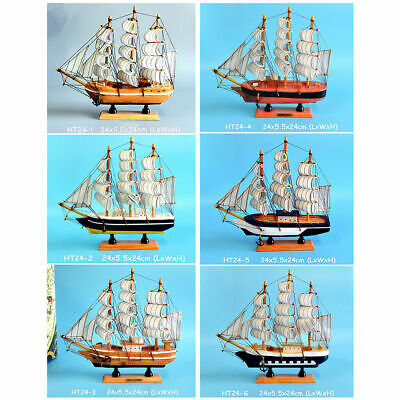 New Gift Hobby Collection Vintage Retro 24cm Wooden Sailing Ship Model 6 Designs