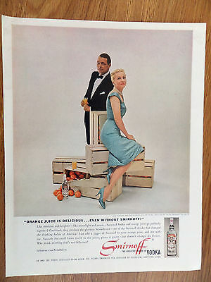1960 Smirnoff Vodka Ad Joan Fontaine & Husband Collier Young