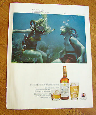 1968 Canadian Club Whiskey Ad Lady's Scuba Divers Must a Girl Prove Herself to