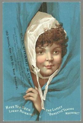 Victorian Trade Card for Domestic Sewing Machine with Lady in Sleeping Cap
