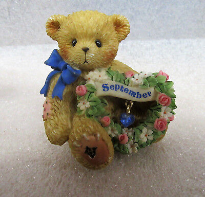 Cherished Teddies ~  September Birthstone Sapphire Birthday Month ~ Figurine