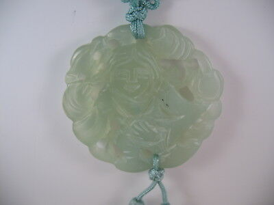Jade Pendant Necklace on  Green Cord with Tassels Carved LadyAsian Design  JP5