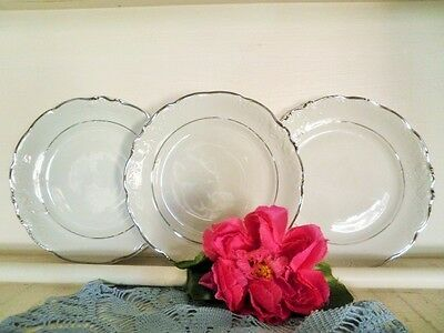 Vintage Side Plates X3 White Silver Trim Wawel Poland Harbro Bread & Butter